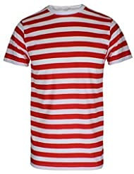 Para hombre palo de golf para niños a rayas rojas y blancas donde WALLY copas de con diseño de estampado de T-camiseta de manga corta disfraz de gorro de punto con T-Shirt Only