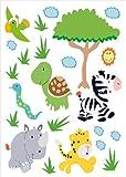 infactory Sticker-Sets: Tierisch lustige Wandtattoos fürs Kinderzimmer Südafrika (Wandtattoo)