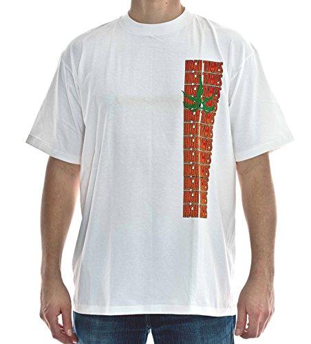 T-Shirt High Times Nr. 6 Baumwolle Premium Qualität Weiß Größe XL Siebdruck und Stickung Original 1990er Jahre Cannabis