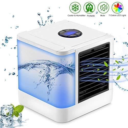 Refroidisseur d'air personnel, Sendowtek Mini-climatiseur/humidificateur/purificateur de bureau 3-en-1 anti-fuite avec réservoir d'eau indépendant, 7 couleurs LED et 3 vitesses (white)