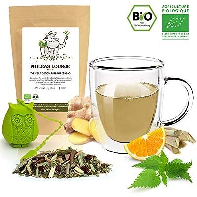 Thé vert Detox Supergreen Bio - Mélange détoxifiant biologique -250g - Infuseur Chouette offert