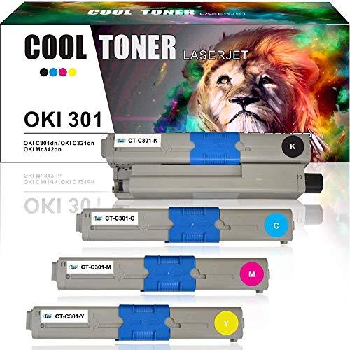 Cool Toner 4-Pack Kompatibel für Oki C301 C321 C301DN C321DN Toner, für Oki MC342 MC342DN MC342W MC342DNW MC332DN Toner, für Oki C321DN C301DN Schwarz Magenta Cyan Gelb