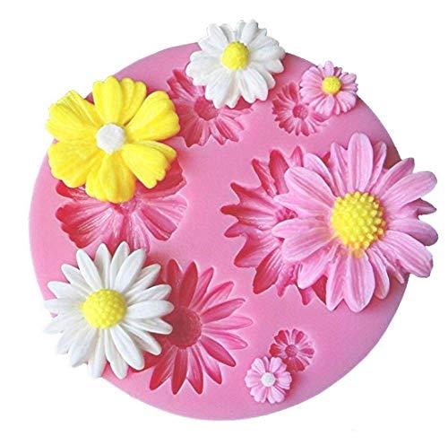 Zeagro Blume Gänseblümchen Form, Seife Ton Schokolade Zucker Basteln Backwerkzeug DIY Kuchen Silikon Form für Babyparty Party Kuchen Dekoration 1 Stück - Ton Formen