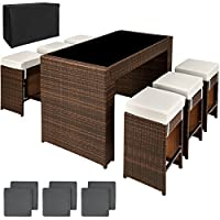 TecTake Luxury Rattan Aluminium 6 Seater Bar Set with 6 Stools + Exchanging upholstery + Protection slipcover, Stainless steel screws brown