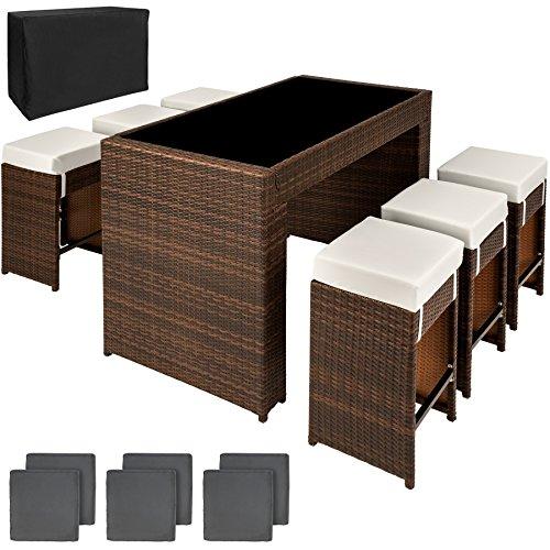 TecTake Poly Rattan Aluminium Bar Set mit 6 Barhocker + 2 Bezugsets + Schutzhülle, Edelstahlschrauben - Diverse Farben - (Braun Schwarz | Nr. 401182)