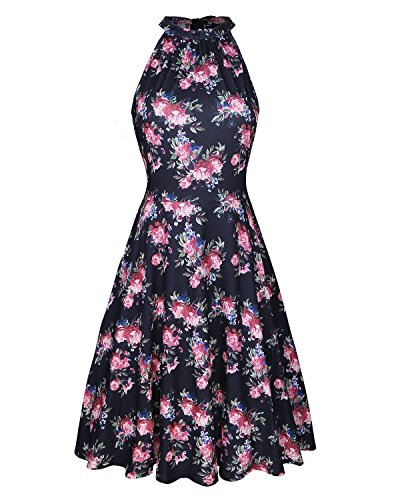 b615a77024d OUGES Women s Halter Neck Floral Summer Casual Sundress - Buy Online in  Oman.