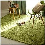 XIEPEI 2019 Gewaschene Seide Haar rutschfeste Teppich Wohnzimmer Couchtisch Schlafzimmer Nacht Yoga-Matte dicken Teppich grün 80 * 160cm