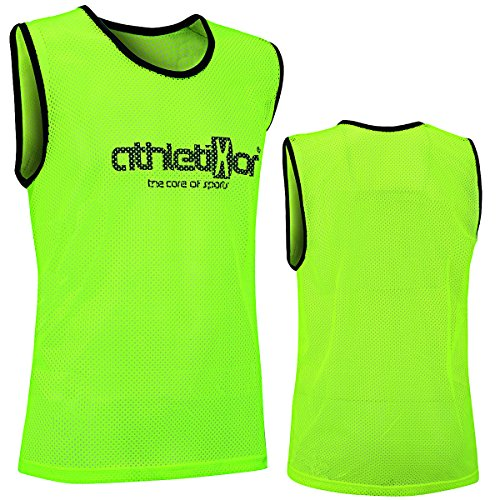 athletikor 10 Fußballleibchen - Trainingsleibchen - Leibchen - Markierungshemden (Gelb, ab B Jugend - Erwachsene XL: 73X60CM)