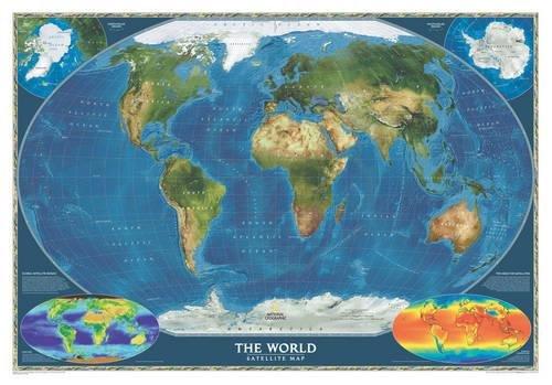 Weltkarte Satelliten Perspektive,  laminiert: 1:38931000 (National Geographic Reference Map)