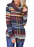 Happy Sailed Womens Striped Long Sleeve Pullover Tops Blouses Knitwear Sweatshirts Jumper Top Size 16 Blue