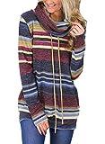 Aleumdr Felpa Donna con Tasche Felpa Donna Invernali a Righe Pullover Donna Collo Alto Tasche Felpe Senza...
