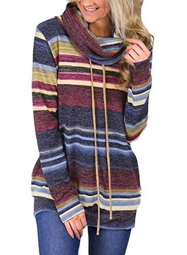 GOSOPIN Damen Sweatshirt Gestreift Rollkragen Loose Tops Farbblock Langarm Herbst Tunik S-XXL, #2, Large (EU44-EU46)