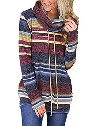 GOSOPIN Damen Sweatshirt Gestreift Rollkragen Pullover Loose Tops Langarm S-XXL