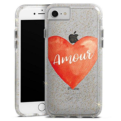Apple iPhone 6 Plus Bumper Hülle Bumper Case Glitzer Hülle Amour Liebe Herz Bumper Case Glitzer gold