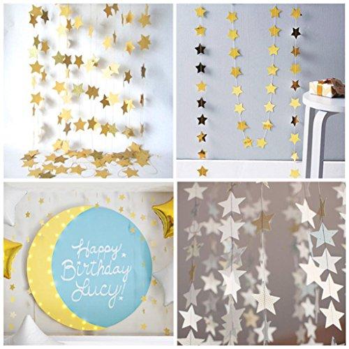 Jamicy® Papiergirlande Schnur Stern Form Hochzeits Party Braut Haus Hängedekoration (Gold)