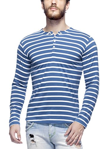 Tinted Men's Cotton Henley T-Shirt TJ103CSF4-EBLUE-M