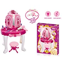 Girls Princess Style Dressing Table Play Set with Light & Sound Jewellery Beauty Set Toy Stool Hair Dryer Dressing Vanity Table Makeup Game