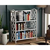 DecorNation 3 Tier Dora Bookcase Book Rack Storage Organiser, MDF for Long Last Bookshelf - White