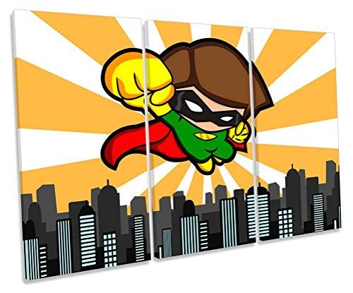 Superhero kids room Treble caja de lienzo cuadro Impresión, 150cm wide x 100cm high