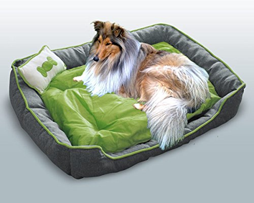 hundeinfo24.de Hundebett / Hundekissen / Schlafplatz + 1 Kissen XL Grün