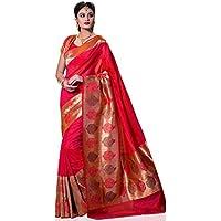 Meghdoot Women's Traditional Woven Kanchipuram Spun Silk Saree Pink Colour Sari
