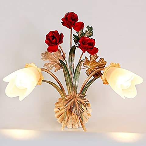 Wall lamp Bedroom living room hallway decoration pastoral American country retro fashion wall lighting aged iron flowers glass shape lamp