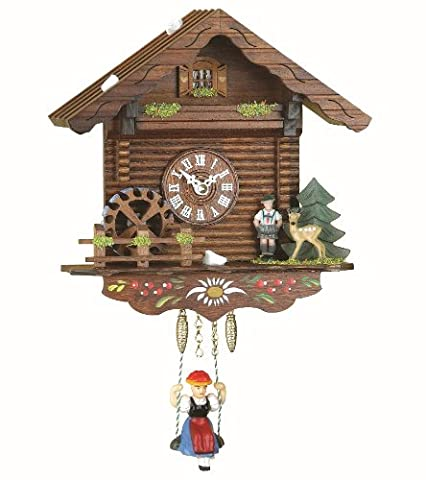 Black Forest Clock Swiss House, turning water-wheel, incl. battery