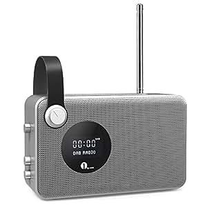 1byone Portable Digital DAB / FM Bluetooth Radio with Alarm Clock / FM Tuner / LCD Display Screen / 3.5mm Aux-in, Sliver & Grey