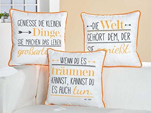Sofakissen oder Gartenbank Kissen mit Weisheit 'Geniesse die kleinen Dinge, sie machen das Leben großartig' aus dem Hause Gilde Handwerk, Maße 45 x 45 cm, beige und orange