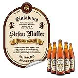 Flaschenetikett als Einladung (10 Stück) - Bier Hopfen in Braun – Bieretikett für Bierflaschen