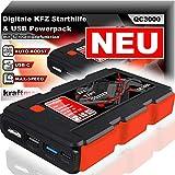 kraftmax QC3000 KFZ Starthilfe mit Auto Boost für 12V Autobatterie und Hochleistungs- Akku Powerpack Ladegerät mit HIGH-Speed USB 3.0 + LED Taschenlampe