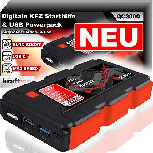 Preisvergleich Produktbild kraftmax QC3000 KFZ Starthilfe mit Auto Boost für 12V Autobatterie und Hochleistungs- Akku Powerpack Ladegerät mit HIGH-Speed USB 3.0 + LED Taschenlampe