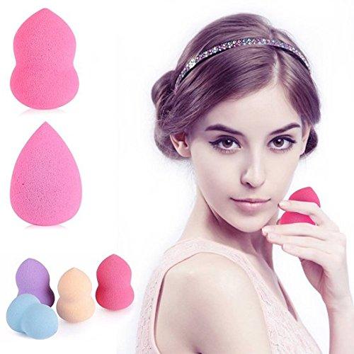 [MAKE-UP SCHWAMM IN WELLEN FORM] Make up blender - 4 stück set - Kosmetik beauty sponge für foundation makeup - Mini make up Schwammen - (Gelb Up Make Creme)