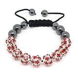 Top Value Jewelry - Hematite Bead and Ruby Red Gem Disco Ball Bead, Unisex Adjustable Woven Shamballa Bracelet