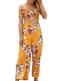 ECOWISH Jumpsuit Damen Sommer Hosenanzug Strand Blumen Trägerlos Overall  Spielanzug 21cc5595e5