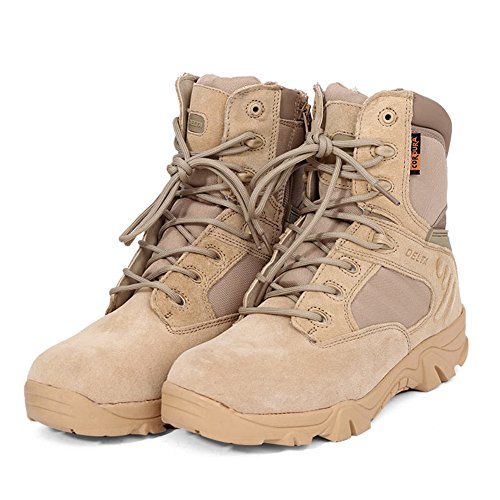 Romsion Leather Ankle-high Military Tactical Boots Waterproof Hiking Boots Army Combat Comp Toe Side Zip Work Boots for Men Sand Color 38 Comp Toe Boot
