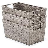 EZOWare 3 Stück Aufbewahrungskiste Badkorb in Rattan-Optik mit Griffen aus Papier-Seil fur Küche, Wohnzimmer, Büro, Bad, Badezimmer - 30 x 17 x 14 cm, Grau