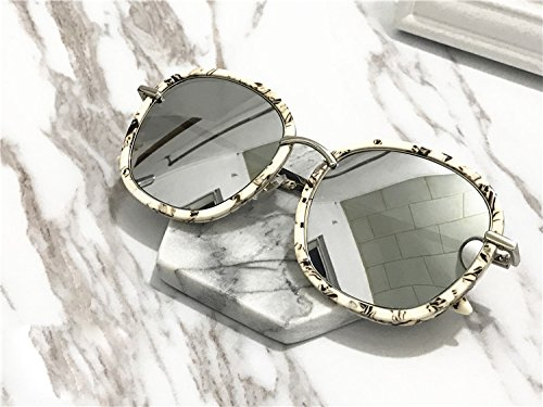 Unisex Sonnenbrille Für sanfte Monster-Sonnenbrille New Gentle man or Women Monster eyeware V brand MAD CRUSH MB1(1M) sunglasses for Gentle monster sunglasses -White marble frame silver lenses