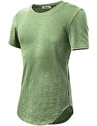 KAIUSI Homme T-shirt Tops basique Hip Hop long Tunique