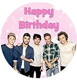 One Direction 'Happy Birthday' Törtchen Dekoration Essbare Zuckerglasur 19cm