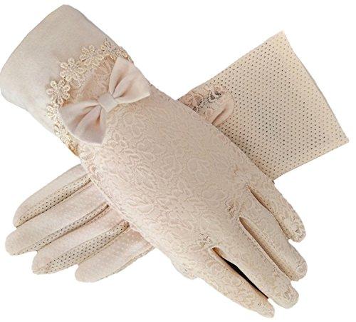 Flywife Damen Braut Hochzeit Spitze Handschuhe Derby Tee Party Handschuhe viktorianischen Gothic Kostüme Handschuhe (Bowknot beige)