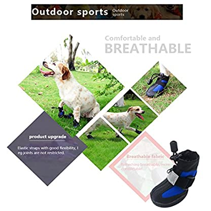 PetPi 4pcs x Paw Protector Blue Dog Shoes Waterproof + Anti-slip Rubber Sole with Reflective Velcro for Yorkshire… 9