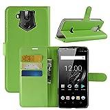 HualuBro OUKITEL K10 Hülle, Premium PU Leder Leather Wallet HandyHülle Tasche Schutzhülle Flip Case Cover mit Karten Slot für Oukitel K10 Smartphone (Grün)