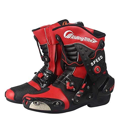 Protettivo Stivali Scarpe Moto Road Racing Bike Racing Grip di Scarpe Stivali da Uomo Resistente Stivali da Moto,Rosso,40