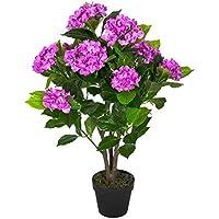 Homescapes Hortensia artificiel fleuri lilas en pot 85 cm