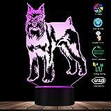 Schnauzer Dog 3D Illusione Ottica LED Luce Notturna 7 Cambio Colore Animale da Compagnia Cucciolo Camera per Bambini Camera da Letto Luce Sonnolenta Decor