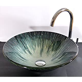 Aufsatz Glas Waschbecken Aqua 42cm rund