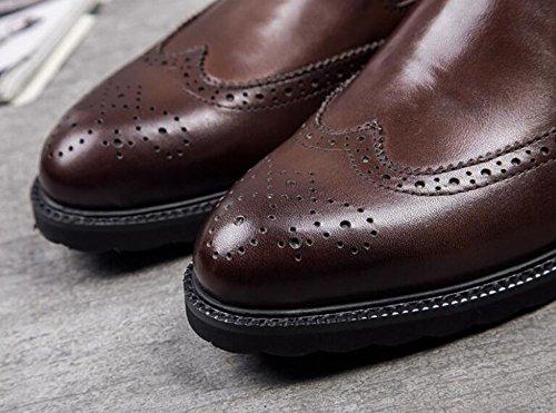 GLSHI Hommes Oxford Brogue Business Men Chaussures British Sets Of Feet Hommes Chaussures Chaussures authentiques en cuir de haute qualité respirant Brown