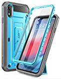 SUPCASE iPhone XR Hülle 360 Grad Handyhülle Outdoor Case Robust Schutzhülle Full Cover [Unicorn Beetle Pro] mit Integriertem Displayschutz und Ständer für iPhone XR 6.1 Zoll, Blau