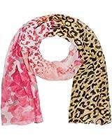 """SIX """"SALE"""" leichter Schal Halstuch mit pinken Blumen und Leo-Print Animal Print Trendmotiv Muster (426-142)"""